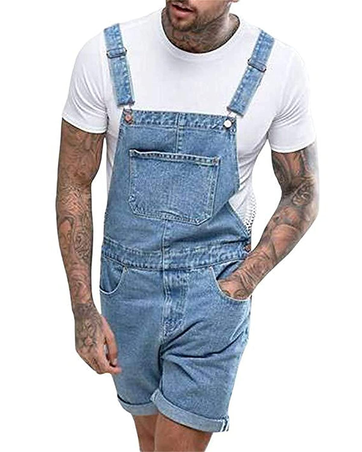 Mens Super popular specialty Great interest store Denim Bib Overall Shorts Dungaree Ripped Rompers Distressed