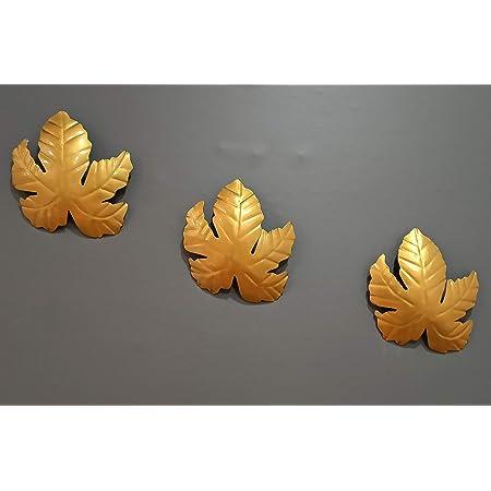 CraftVatika Metal Mapple Leaf Wall Art Decor Showpiece for Home Living Room Bedroom Decoration (Set of 3)