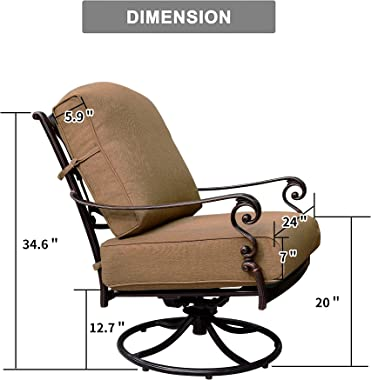 PURPLE LEAF 2 Pieces Patio Swivel Chair Cast Aluminum Outdoor Armchair with Cushions for Garden, Beige