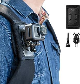 TELESIN Bag Backpack Shoulder Strap Mount with Adjustable Shoulder Pad and J Hook, Strap Holder Attachment System for GoPr...