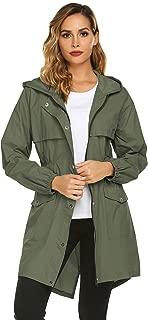Avoogue Womens Rain Coat Lightweight Hooded Long Raincoat Outdoor Breathable Rain Jackets