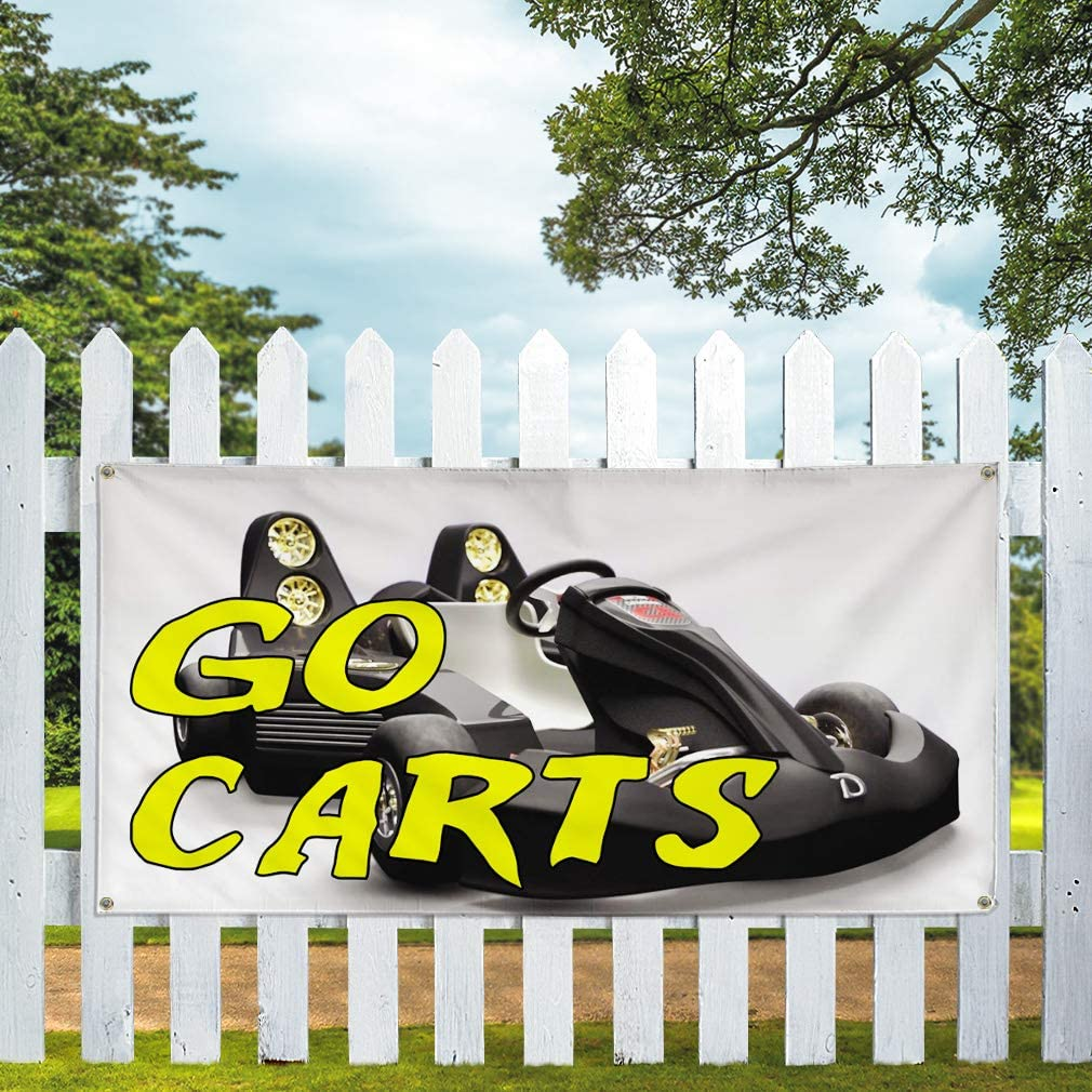 Vinyl Banner Multiple Sizes Go Carts Outdoor Advertising Printing Business Outdoor Weatherproof Industrial Yard Signs White 10 Grommets 60x144Inches