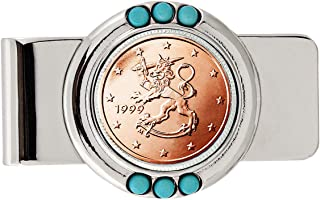 Coin Money Clip - Finland Two Euro | Brass Moneyclip Layered in Silver-Tone Rhodium with Genuine Turquoise Stones | Holds Currency, Credit Cards, Cash | Genuine Coin | Certificate of Authenticity