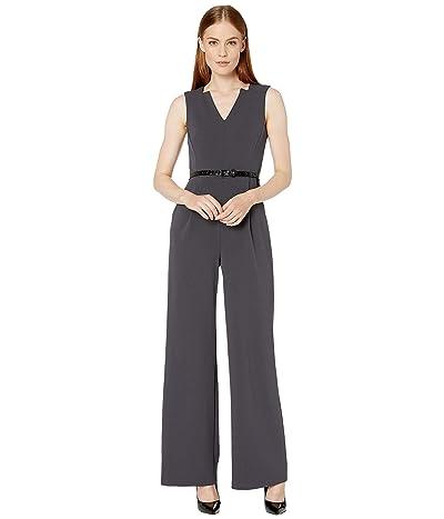 Calvin Klein Belted V-Neck Jumpsuit (Charcoal) Women