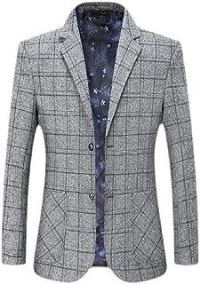FSSE Mens Regular Fit Plaid Business Suit Coat Casual Dress Blazer Jacket Suit Coat