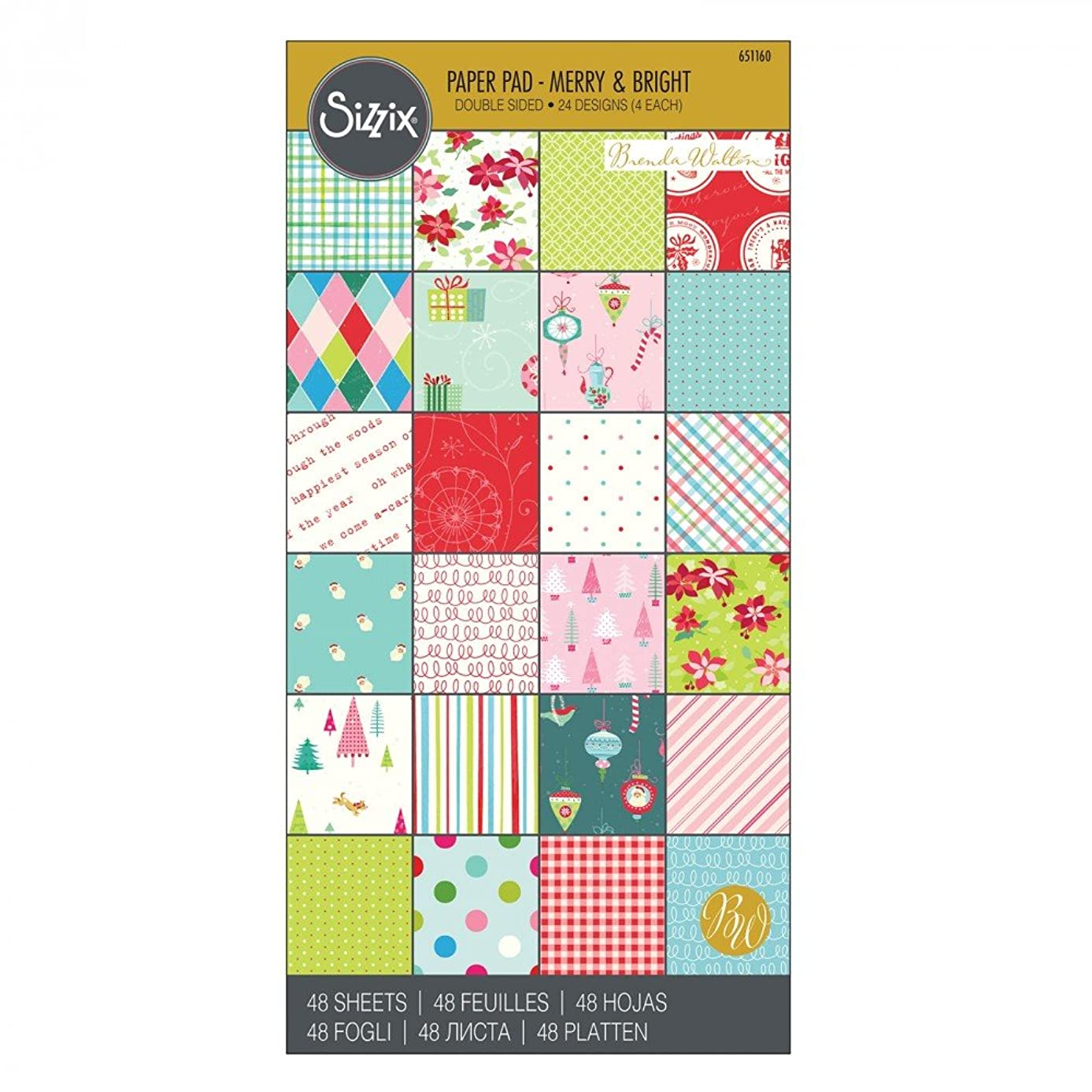Sizzix 651160 Paper, 6 12-Inch Cardstock Pad, Merry and Bright by Brenda Walton, 48-Sheets