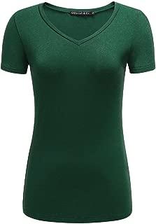 OThread & Co. Women's Short Sleeve T-Shirt V-Neck Basic Layer Spandex Shirts