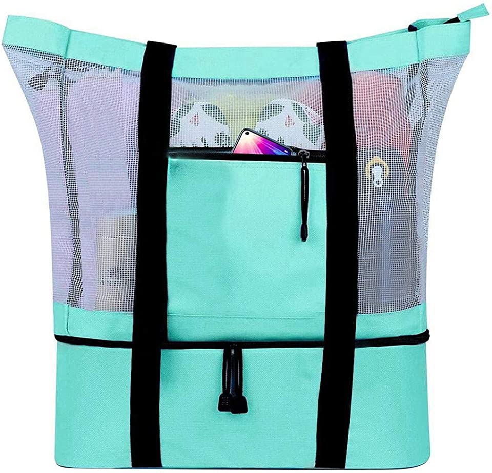 Outdoor Mesh Beach Tote Bag with Cooler Compartment Insulated Picnic Bag with Zipper and Pocket Pool Bag for Women