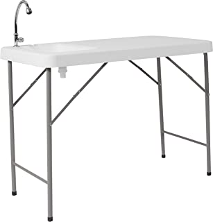Flash Furniture 23''W x 45''L Granite White Plastic Folding Table with Sink