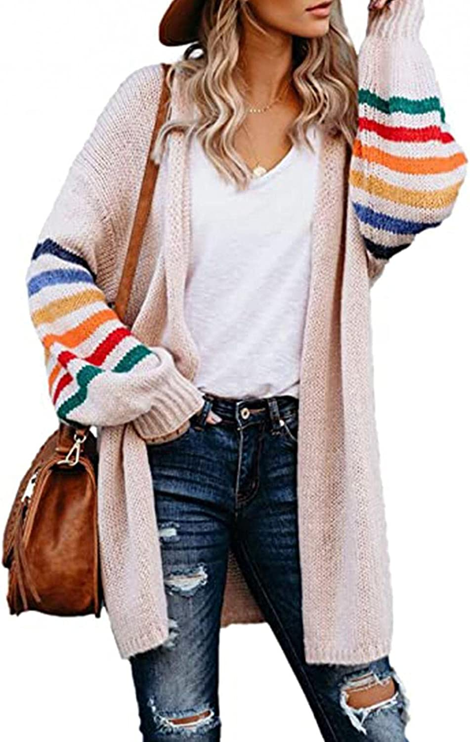 FGDJEE Cardigan Sweaters for Women Fall Stripe Printed Knit Open Front Long Cardigan Fashion Tops