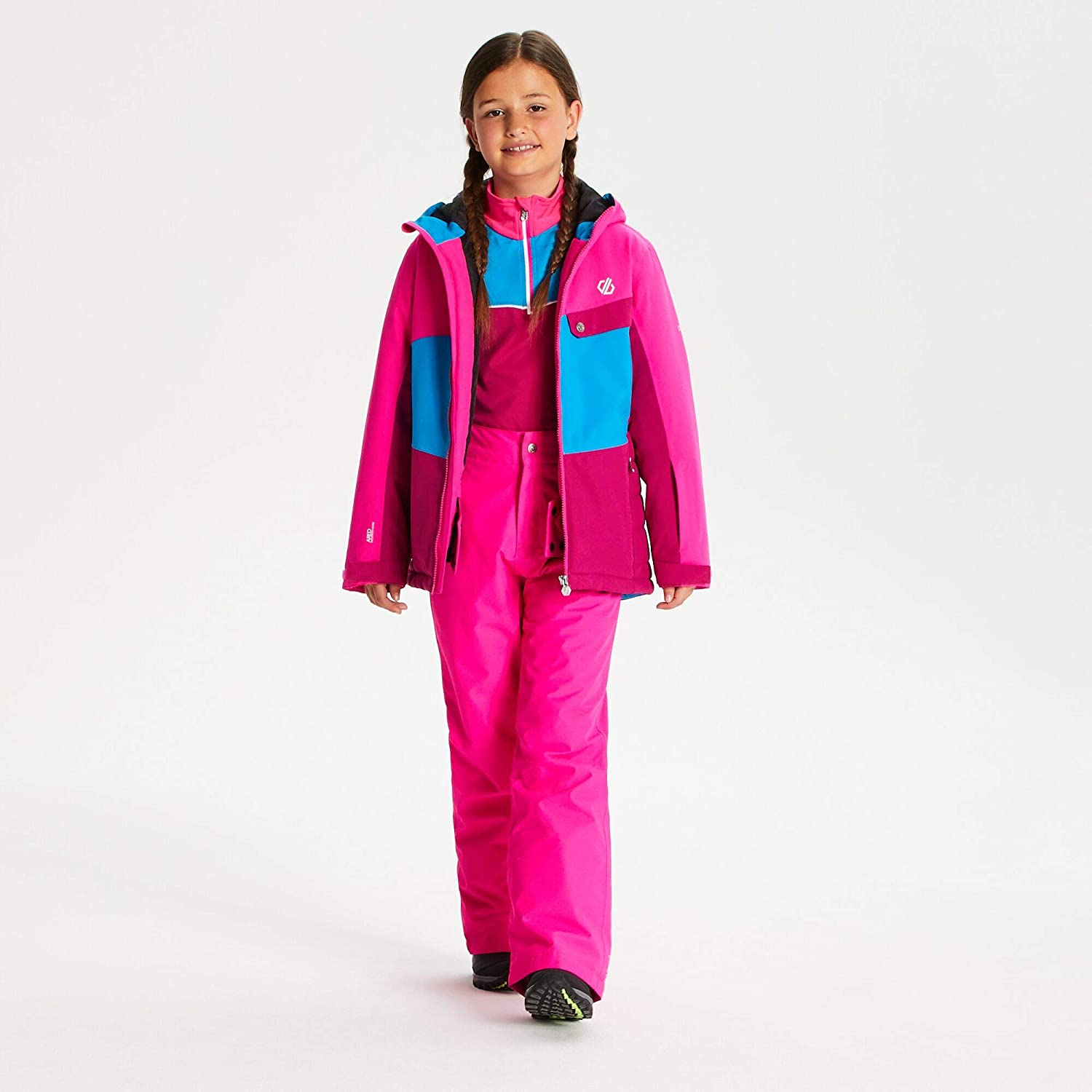 Dare 2b Unisex Kids Wrest Waterproof and Breathable High Loft Insulated Ski and Snowboard Jacket With Snowskirt and Reflective Detail Jacket