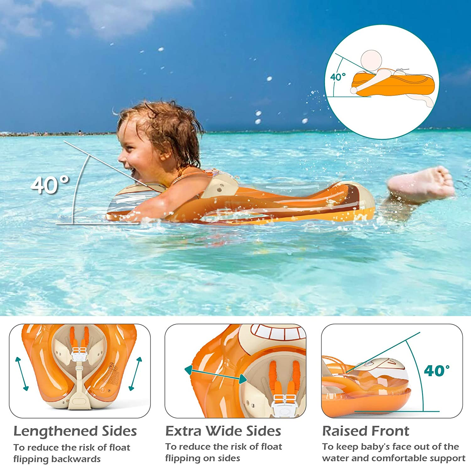 Jasonwell Baby Swimming Float Inflatable Baby Pool Float Ring Baby Float Pool Toys Floaties for Infants Toddlers Age of 3 Months M 6 Years Old