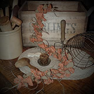 The Olde Sap Bucket Country Pumpkin Homespun Lighted Rag Garland~Primtive~Accents~