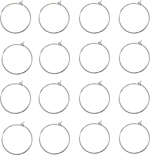 Floranea 80 Pcs Wine Glass Charm Rings 25 mm Earring Beading Sliver Open Plated Hoop for Jewelry Making Craft Art DIY Supplies Wedding Birthday Party Festival Favor