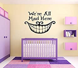 Wall Vinyl Sticker Alice in Wonderland Cheshire Cat Queen Of Heart White Rabbit Caterpillar Duchess Wall Vinyl Sticker Quote Phrase Fairy Tale Cartoon Character Girl Boy Nursery Kids Room Decor MZ2658