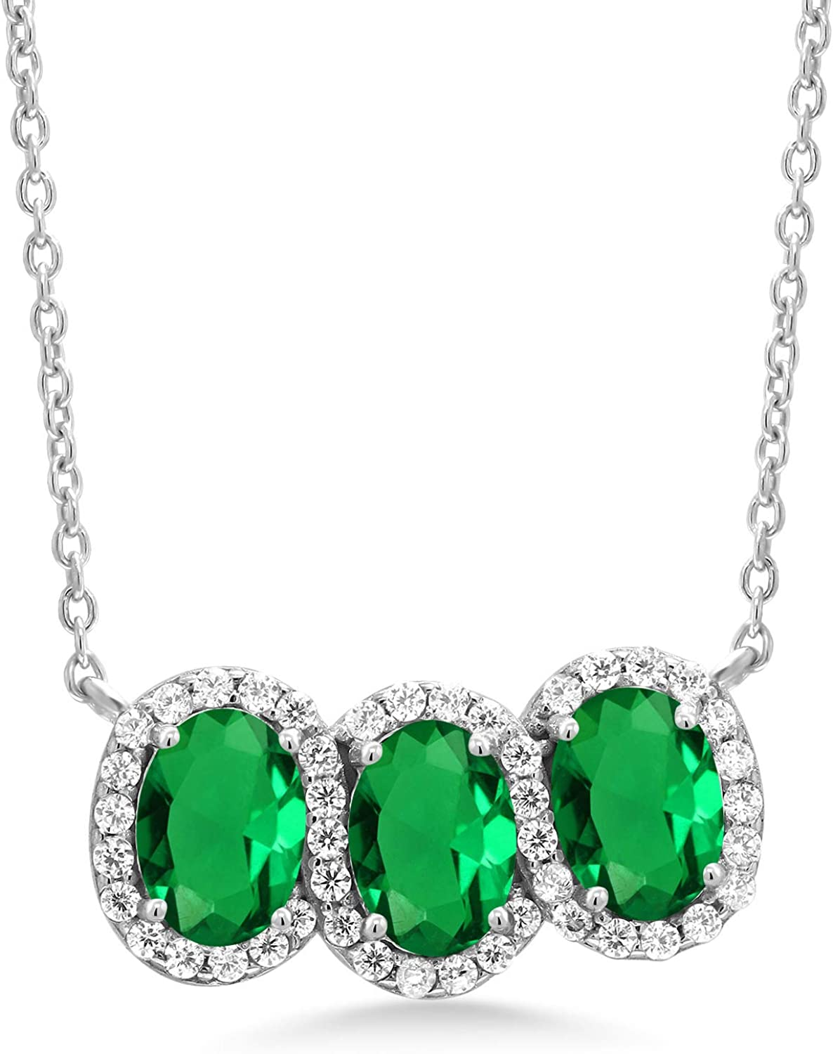 Gem Mail order OFFer Stone King 925 Sterling Silver 3-Sto Simulated Green Emerald