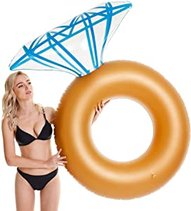 Tzsmat Inflatable Diamond Ring Pool Float Swimming Floaty for Adults