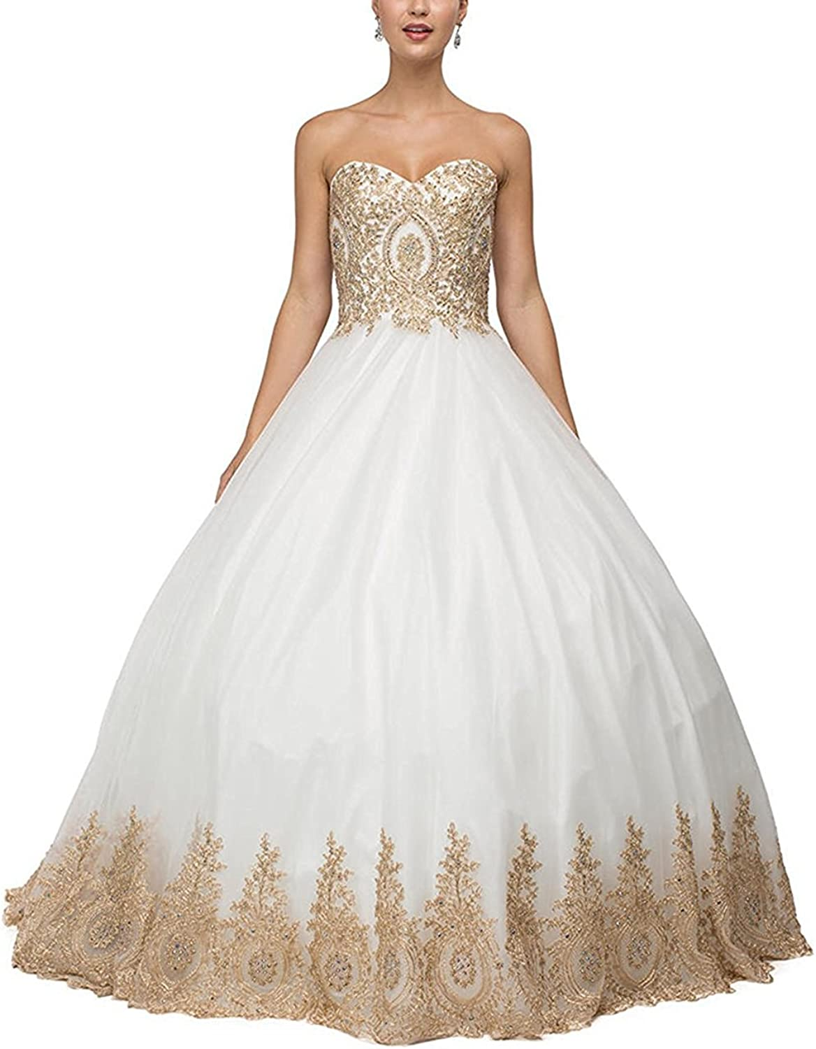 Kaitaijidian Women's  Long Quinceanera Dresses Ball Gown Lace s Prom Dresses 648