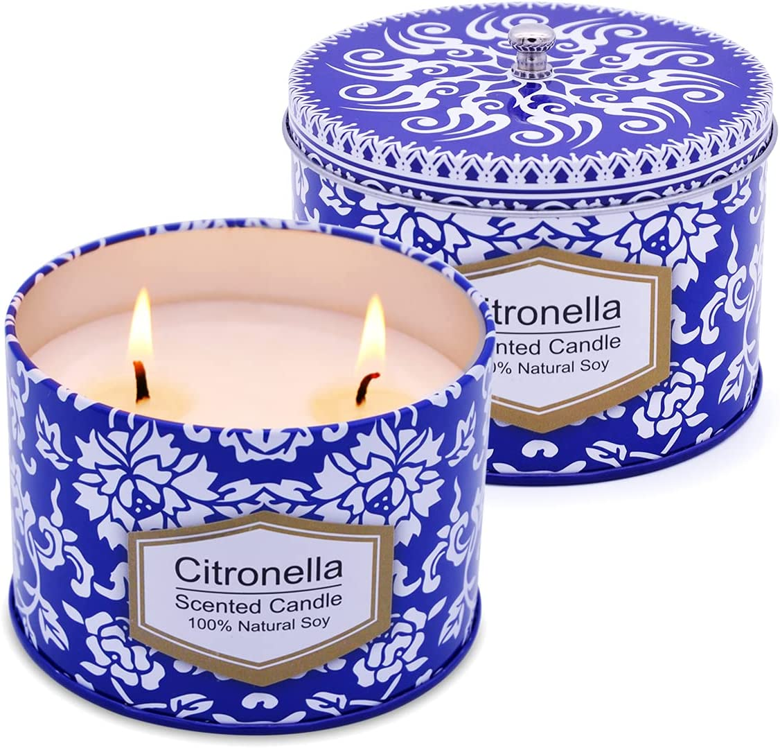 Uwax Cheap mail order shopping 2 Pack of depot Citronella Candle White and Blue Portable 8.5Oz