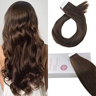 Moresoo 14 Inch Hair Extensions Tape in Human Hair Brown Color #4 20pcs/50g Remy Human Hair Glue on Hair Extensions Unprocessed Hair Extensions