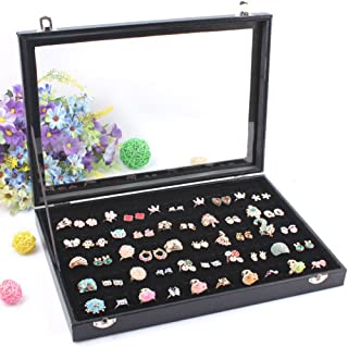 Wuligirl 100 Slot Ring Display Box Stackable for Jewelry Organizer Case Holder Tray Storage Showcase Lockable Velvet Clear Lid(100 Slot Ring)