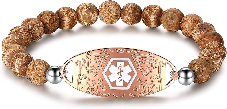 Long-awaited Tiger Eye Stone Beaded Medical Bracelet Agate Finally resale start Malachite Alert Id