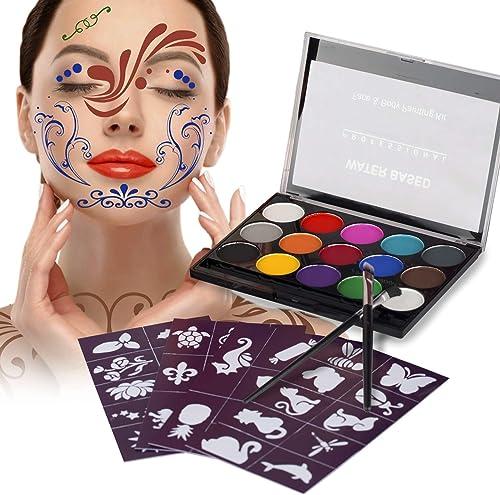 XPASSION Kit de Pintura Facial. Set de Maquillaje, Pinturas Corporales, Pintura Cara Professional Juego con 1 brocha 15 Colores para niños Fiestas Body Painting de Halloween Make Up product image