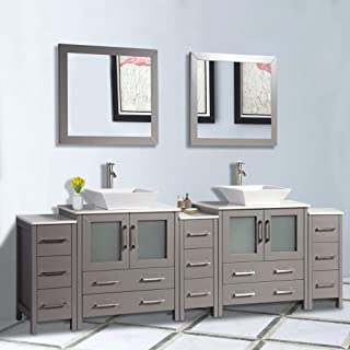 Vanity Art 96 inch Double Sink Bathroom Vanity Combo Set 13-Drawers, 2-Shelves, Cabinet Quartz Top and Ceramic Sink Bathroom Cabinet with Mirror - VA3130-96-G