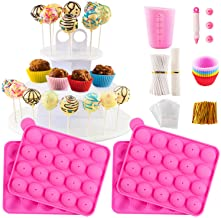 Cake Pop Maker Set with Pink Silicone Molds with 3 Tier Cake Stand, Chocolate Candy Melts Pot, Paper Lollipop Sticks, Silicone Cupcake Molds, Decorating Pen with 4 Piping Tips, Bag and Twist Ties