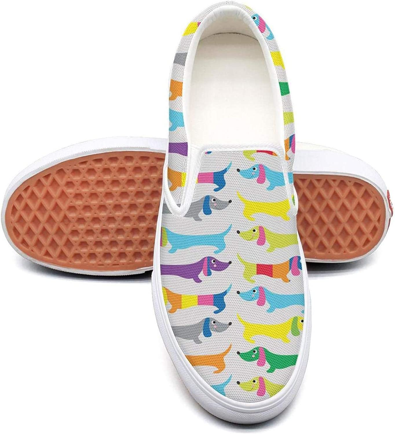 Refyds-es colorful Dachshund Funny Womens Fashion Slip on Low Top Lightweight Canvas Volleyball Sneakers
