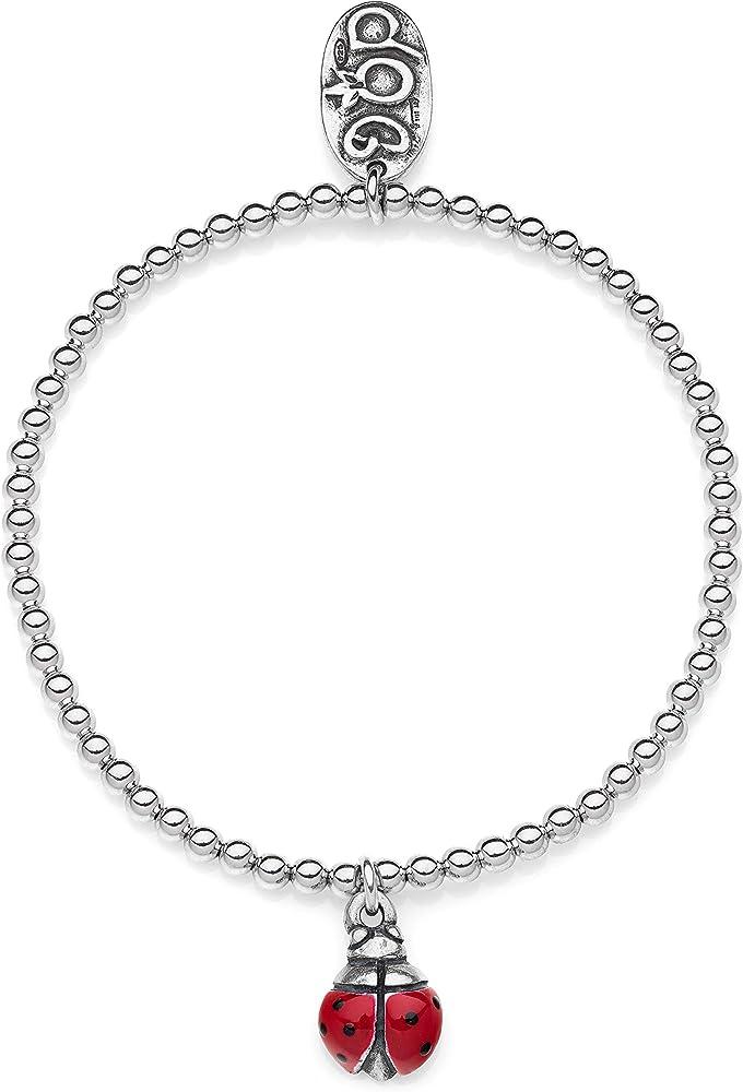 Dop gioielli,bracciale boule con mini ciondolo coccinella,per donna,in argento 925 BRBOU003