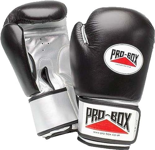 Probox homme Sangle Velcro sur le poignet-Gants d'entraînement de boxe d'entraînement en cuir-Noir-& Argent