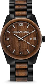 wood and stainless steel watches