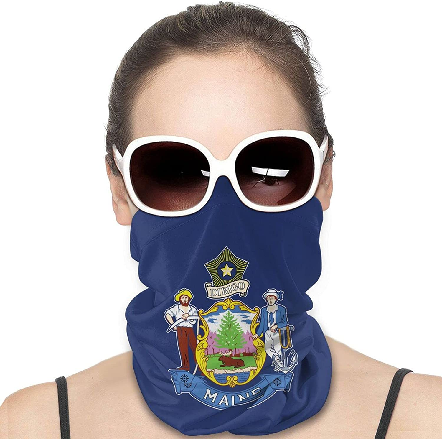 Maine State Flag Round Neck Gaiter Bandnas Face Cover Uv Protection Prevent bask in Ice Scarf Headbands Perfect for Motorcycle Cycling Running Festival Raves Outdoors
