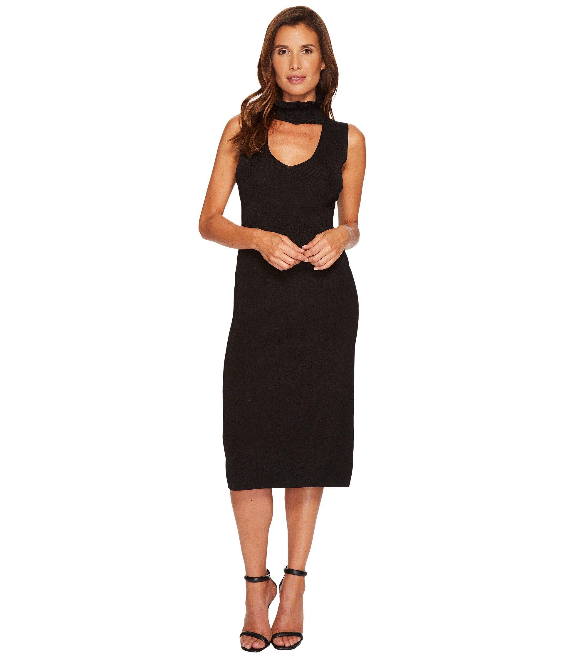 Raine V-Neck Sweater Dress, Black