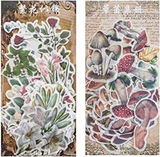 120PCS Vintage Plant Washi Paper Stickers Flower Mushroom Stickers Scrapbooking Sticker for DIY Diary Albums Stationery De...
