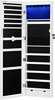 """SONGMICS 6 LEDs Mirror Jewelry Cabinet, 47.3""""H Lockable Wall/Door Mounted Jewelry Armoire Organizer with Mirror, 2 Drawer..."""