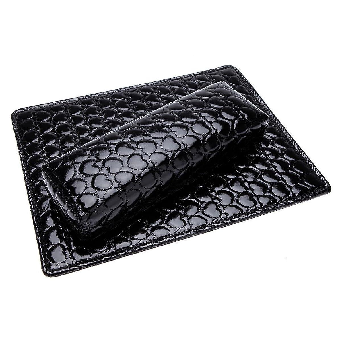 十分ではない実行するチョップSODIAL ソフトハンドクッション枕とパッドレストネイルアートアームレストホルダー マニキュアネイルアートアクセサリー PUレザー 黒