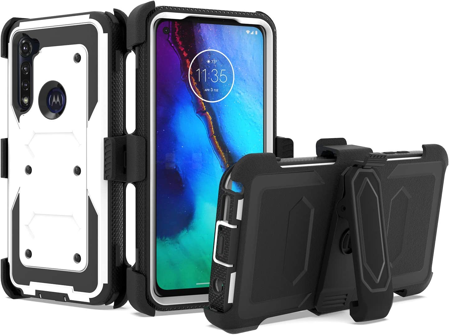 UNC Pro 3 in 1 Belt Clip Holster Cell Phone Case for Motorola Moto G Power 2020, Heavy Duty Shell Hybrid Shockproof Bumper Case with Kickstand, White/Black