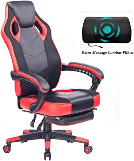 HEALGEN Gaming Chair with Footrest Racing Computer PC Chair Ergonomic High Back Swivel Executive Office Chair Mesh Leather Reclining Desk Chair (RC906 Red)