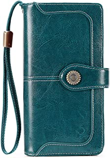 FALAN MULE Elegant Leather Wallet for Women RFID Blocking Women Purses 24 Card Slots Large Capacity Long Trifold Clutch Purse