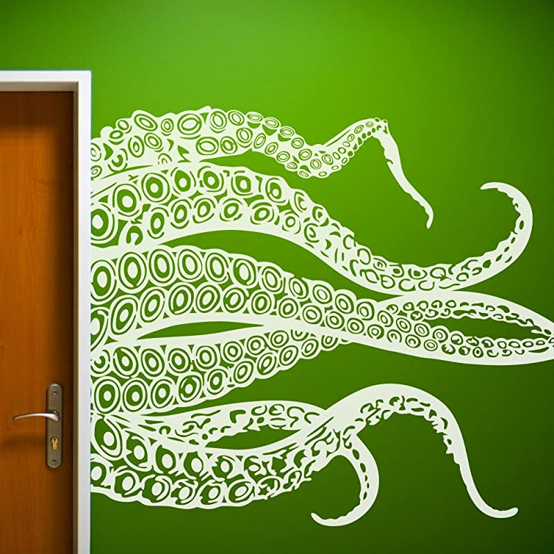 MairGwall Kraken Octopus Decal Fashion Tentacles Wall Decal Ocean Animal Wall Sticker 35 H X46 W White