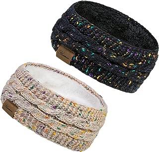2 Pack Ear Warmer Headband Women Winter Cable Knit Headband Twist Fuzzy Fleece Lined