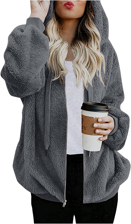 RFNIU Womens Winter Coats Fashion Casual Hoodies Zip Up Faux Fur Jackets Cardigan Brown Fleece Fuzzy Warm Coats