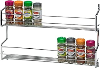 CKB Ltd 2-Tier Spice Rack Metal Wall mounted - Holds 20 Jars - Chrome DOUBLE Shelf Wall Cupboard Door Mounted Storage Stand Kitchen Cooking Universal Organizer 45 x 7 x 30cm