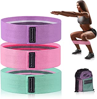 Xcellent Global Resistance Band Set of 3 Exercise Fabric Bands for Legs Hip and Butt Booty Loops with Carrying Bag for Workout Home Fitness SP147