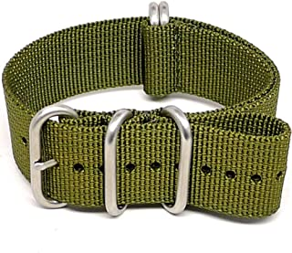 DaLuca Ballistic Nylon Military Watch Strap - Olive (Matte Buckle) : 22mm