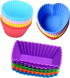 Cutequeen 36pcs (12pcs Heart-Shaped;12pcs Rectangular and 12pcs Round) Silicone Baking Cups/Cupcake Liners - in Storage Container - Never Buy Paper Cups Again(Pack of 36)