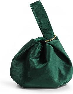 Damen Clutch, Samt, Griff oben, Handtasche, klein, Dunkelgrün