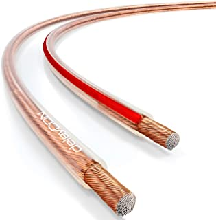 deleyCON 100m Cable de Altavoz - 2X 2,5mm² - Aluminio Recubierto de Cobre - 50x0,25mm Trenza - Marca de Polaridad - Transparente